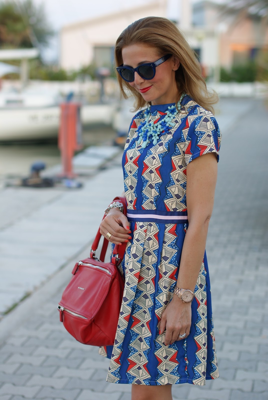 Zaful argyle print short dress, Givenchy Pandora bag in red and Hype Glass on Fashion and Cookies fashion blog, fashion blogger style