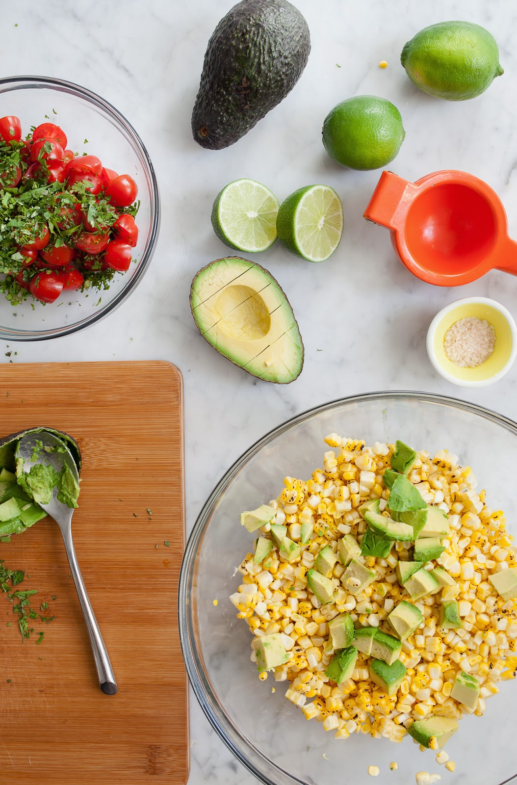 Tomato Stack Salad With Corn, Bacon, And Avocado Recipe ...