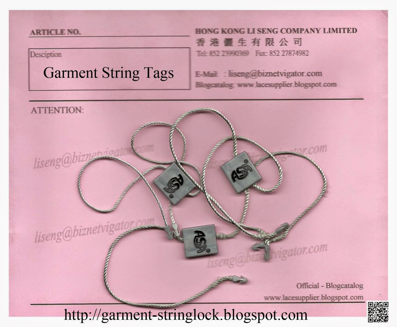 Plastic Seal Hang Tag String Lock Pin Wholesale - Hong Kong Li Seng Co Ltd