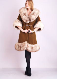 Vintage 1960's brown Lilli Ann fox fur princess coat