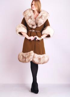 Vintage 1960's brown Lilli Ann fox fur princess coat