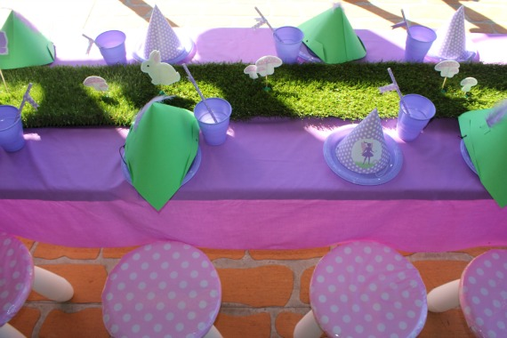 fairy birthday party table decorations, party supplies, diy, pruple faity party, party table, grass table runner