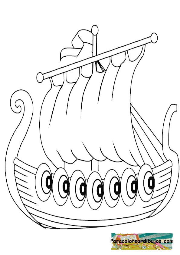 barco vikingo para colorear