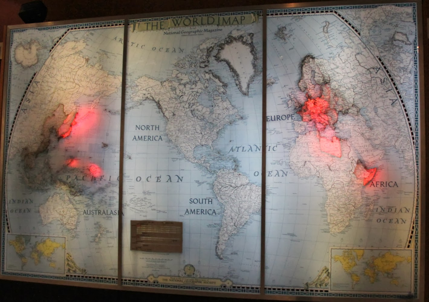 there is a very interesting display giving the timeline history of world war ii it is done by way of a huge national geographic map of the world
