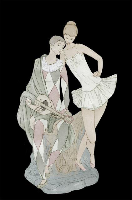 figura ceramica. arlequin y bailarina, Lladro, dibujo