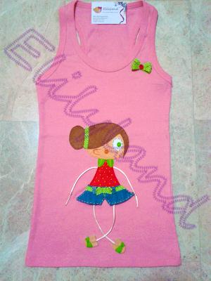 Camiseta Nadadora  Mini-Elily Fresa Muñeca Fieltro Vaquero Hecho a Mano