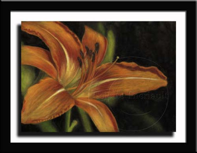 Orange Daylily Painting in pastel