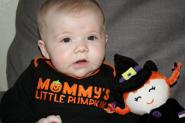 Baby Madeline in Mommy's Little Pumpkin onesie with Evil Witch Peggy