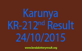 Karunya KR 212 Lottery Result 24-10-2015