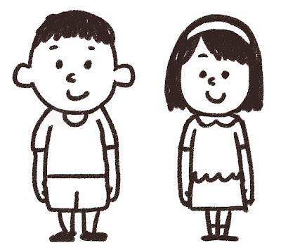 小学生のイラスト「男女」 白黒線画