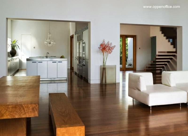 Sector del open plan en el interior de la villa de Miami