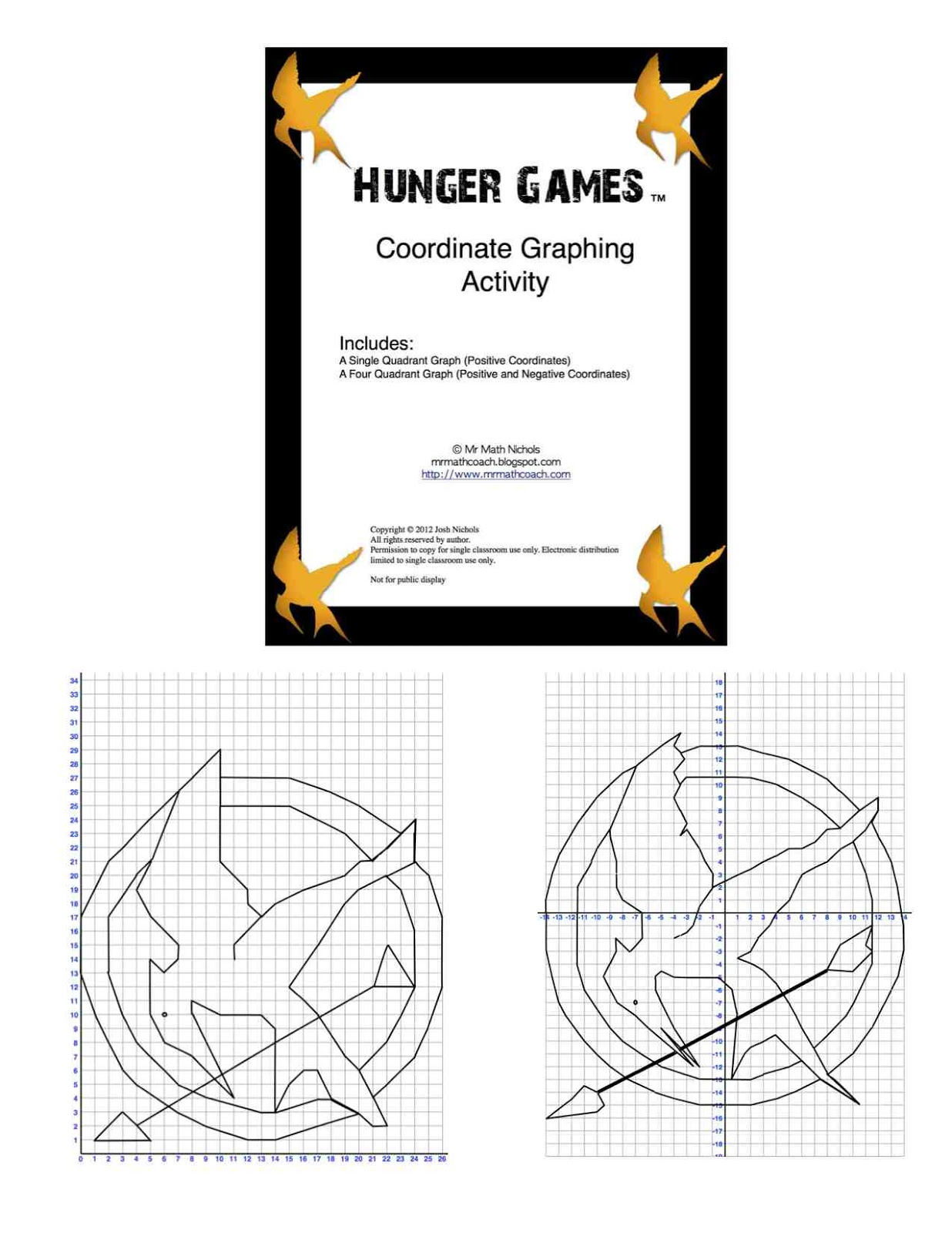 worksheet Coordinate Graphing Activity hunger games coordinate graph one quadrant and four quadrant