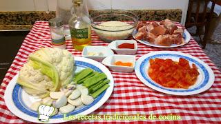 Receta paella de costilla de cerdo y coliflor