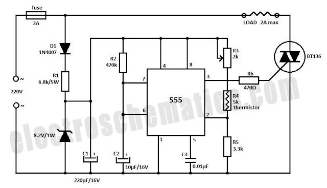 Temperature Controller Circuit Schematic 555