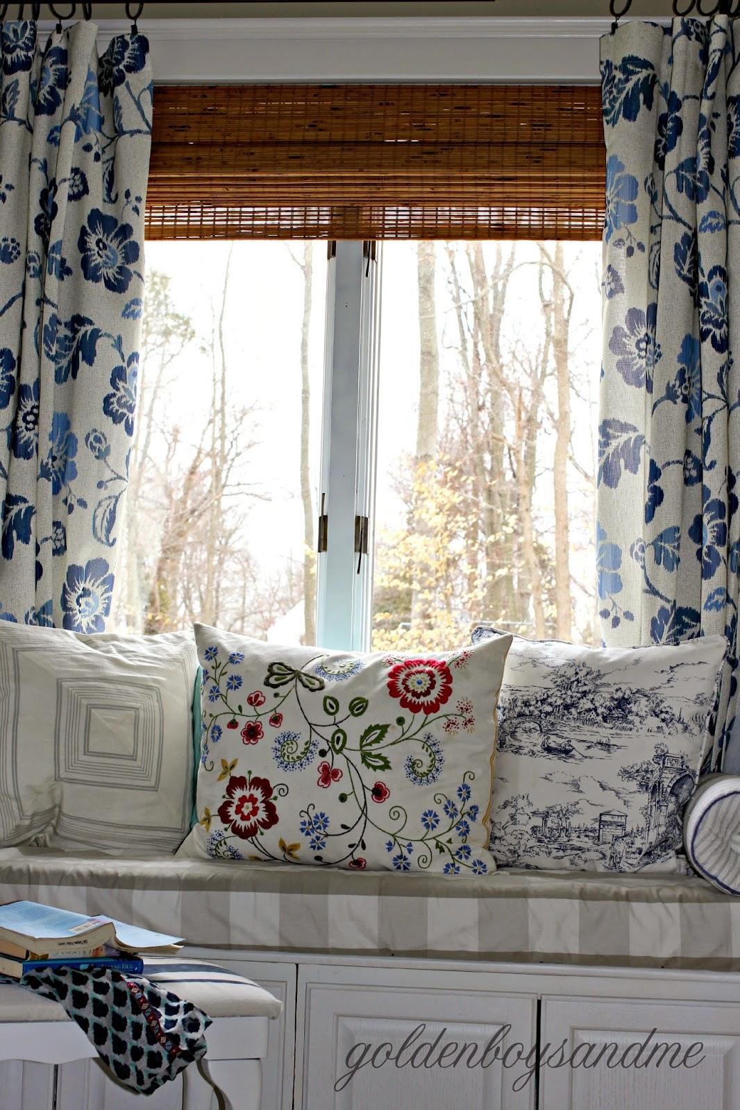 DIY master bedroom window seat made with upper kitchen cabinets-www.goldenboysandme.com