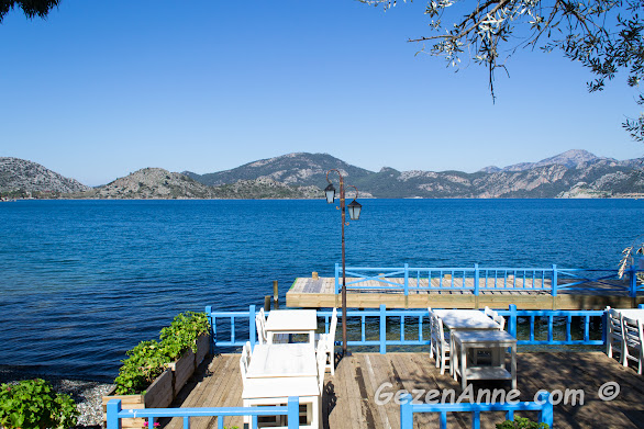 Sardunya restorandan deniz manzarası, Selimiye köyü Marmaris
