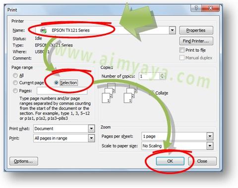 Gambar: Cara melakukan print / mencetak sebagian dokumen  yang telah dipilih / diblok di Microsoft Word 2007