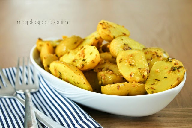 Golden Potato Salad with Lemon, Turmeric and Cumin. Vegan and Gluten Free.