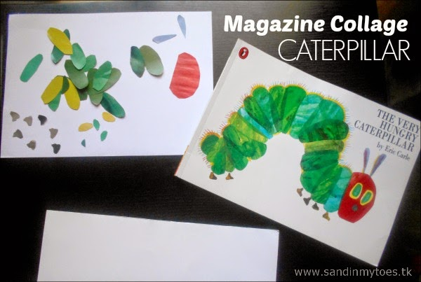 Magazine Scrap Paper Caterpillar based on Eric Carle's book