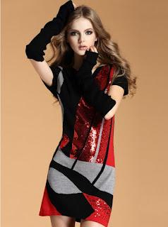 Vestido de lana con diseños geométricos, mangas cortas y guantes largos