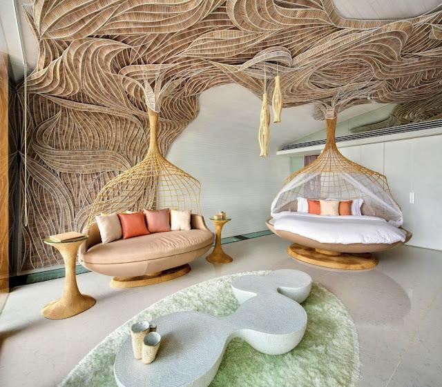 Traditionelles Kunsthandwerk plus modernes Design – perfekte Mischung für ungewöhnliche Einrichtung und exklusives Wohnen: Wohnzimmer
