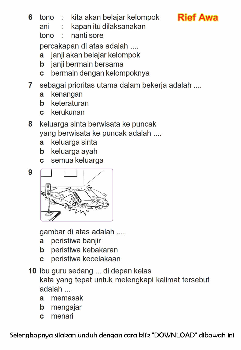 Download Soal Uas Ganjil Bahasa Indonesia Kelas 2 Semester 1 2015 2016 Rief Awa Blog