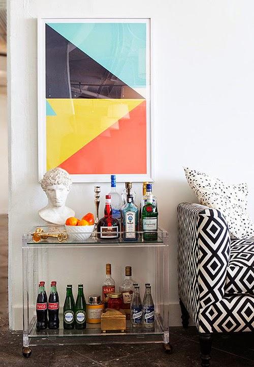 Mueble bar cristal cuadro colores