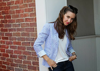 school boy blazer, j.crew blazer, kate spade jeans, broome street denim, chinese laundry heels, black buckle heels, marc jacobs cat eye sunglasses