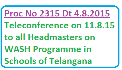 Teleconference on WASH programme in Schools under Swach Paatashaala in Telangana