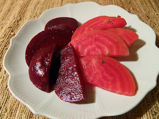 Plate of Red and Rose White Beets