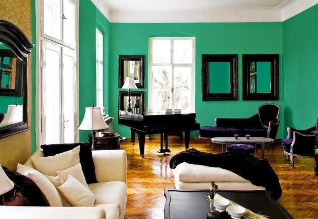 Salas con acentos en verde esmeralda salas con estilo - Paredes en verde ...