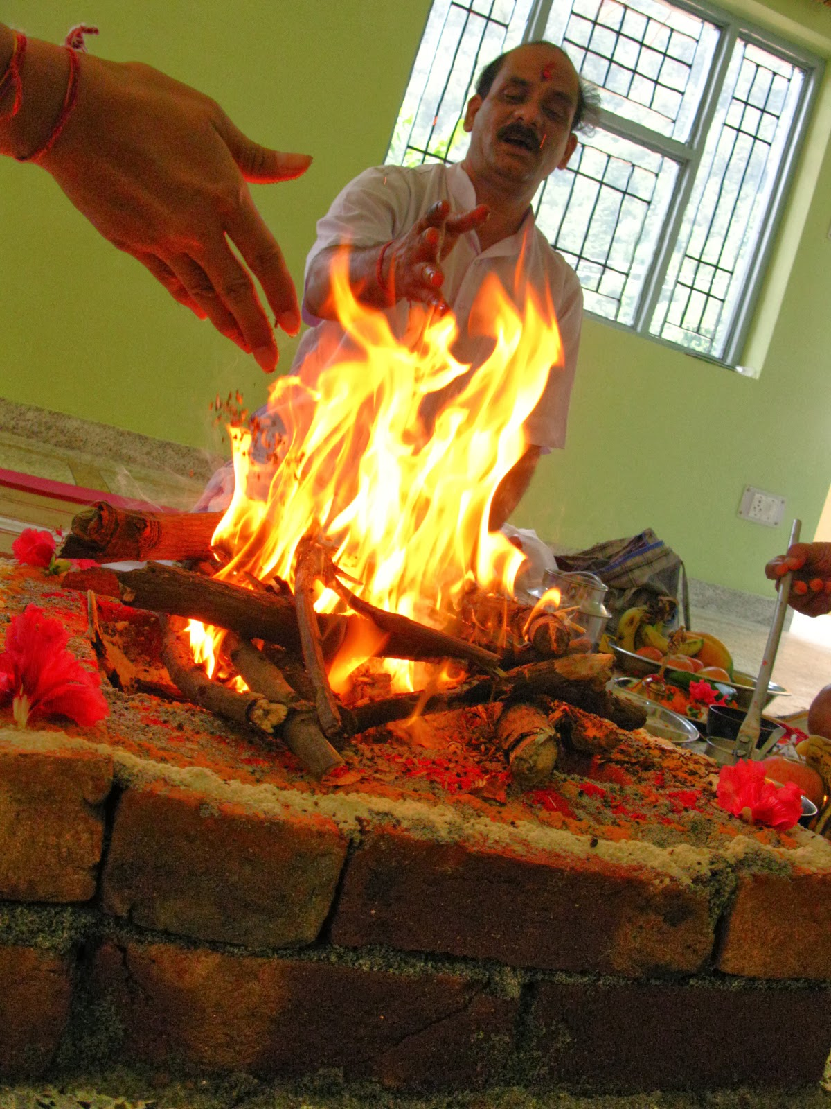 mantra chanting in front of holy fire of Yagana