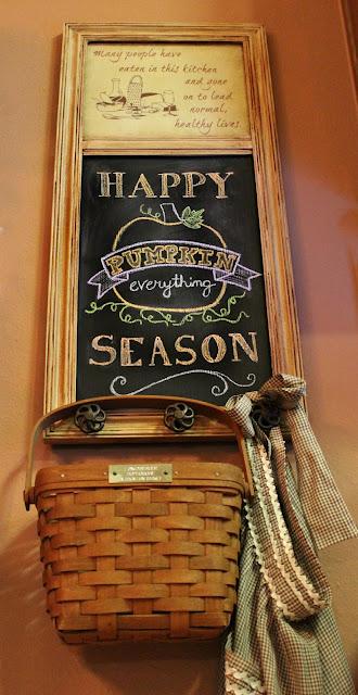 Fall chalkboard, Longaberger basket, vintage apron, chalkboard diy, chalkboard printable, Halloween quote