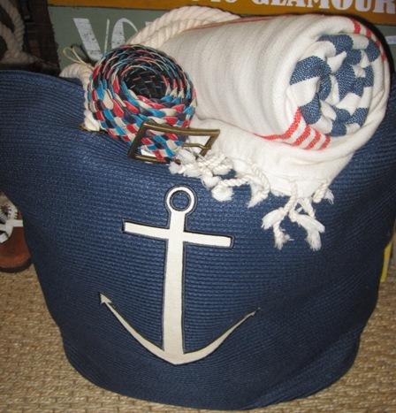 Bolso playa azul con ancla