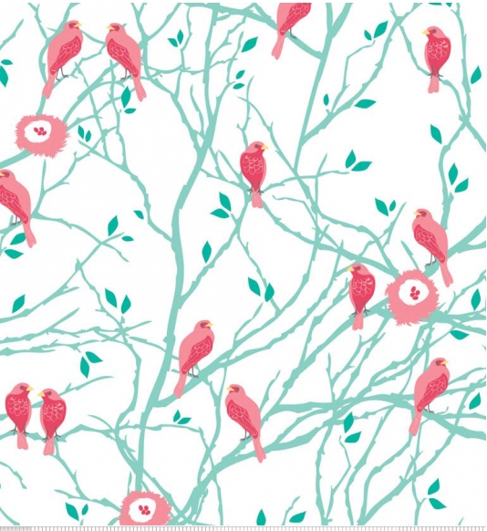 embroidery fabric cute pattern birds