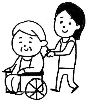 車椅子に乗ったおばあさんのイラスト(介護) 白黒線画