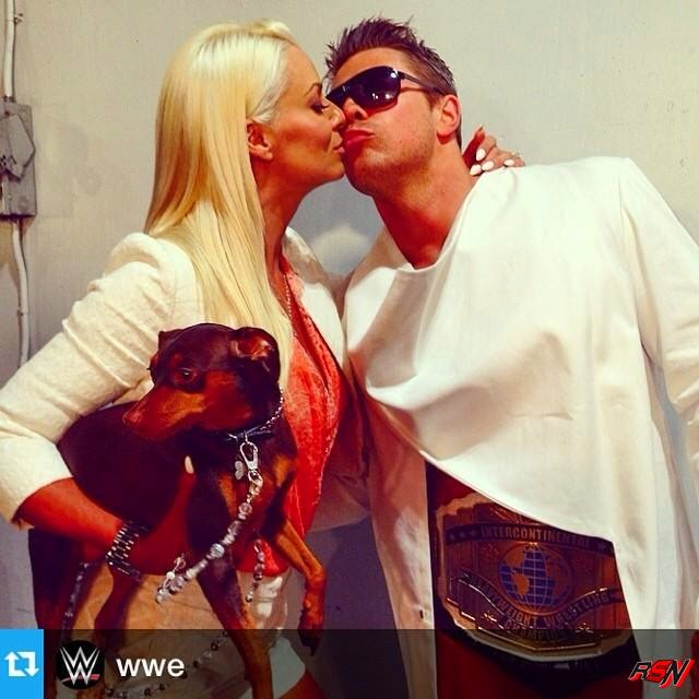 Maryse Kissing the Miz Before His SummerSlam Match.