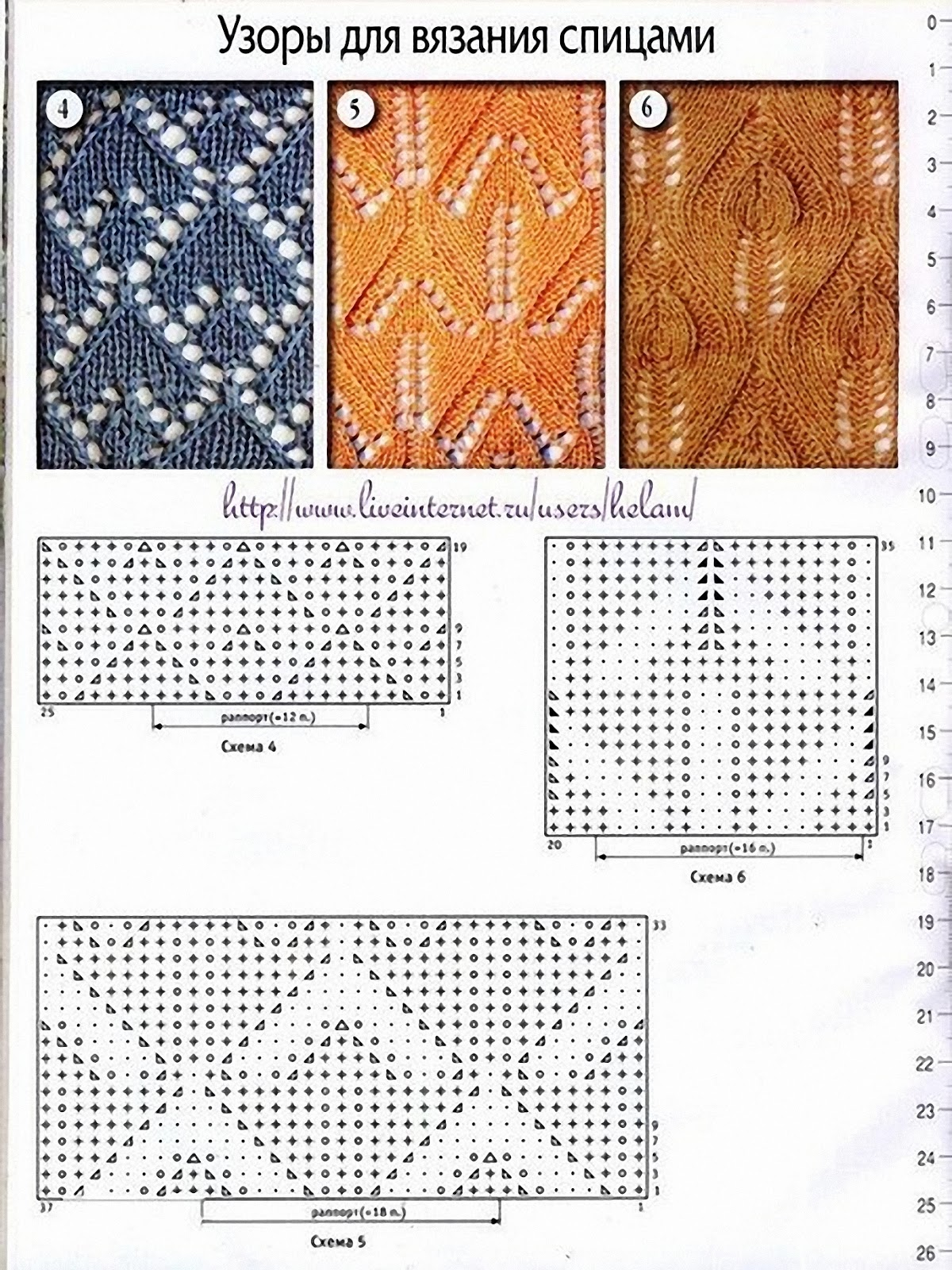 Ажурное вязание на спицах узоры и схемы