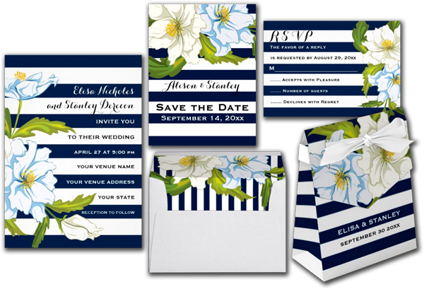 Blue Stripes & Flowers Modern Floral Wedding Invitation Card