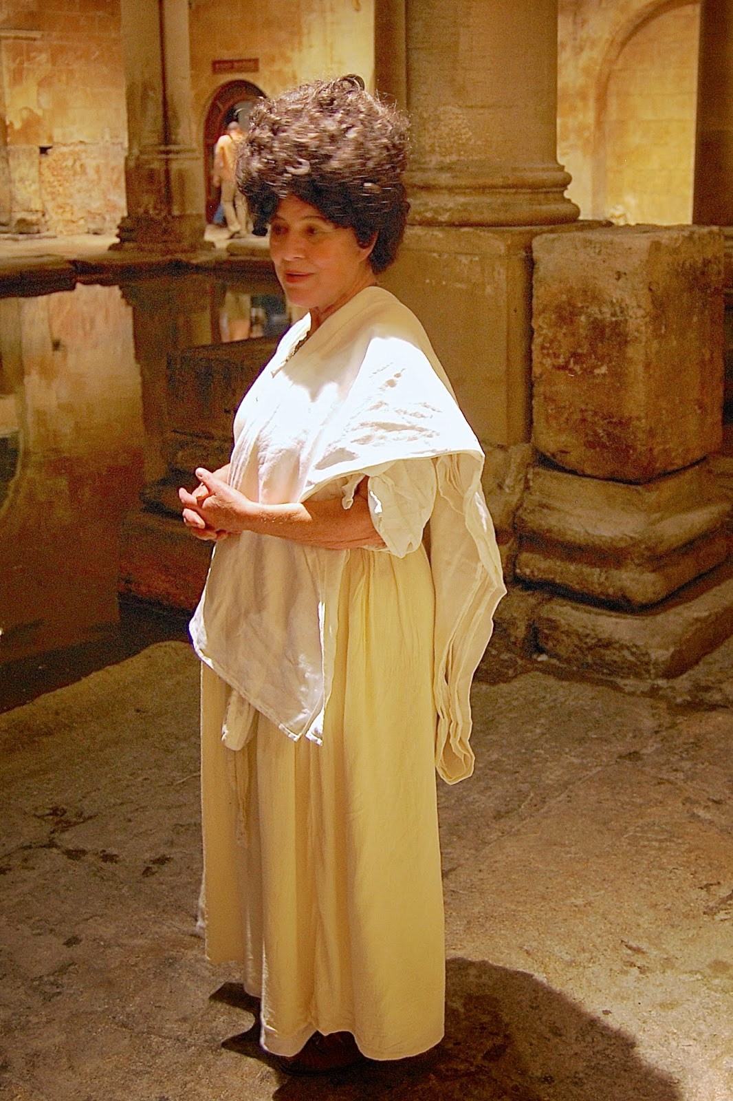 Historical reenactor in the Roman baths