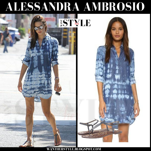 Alessandra Ambrosio in blue tie dye Splendid shirt dress what she wore models off duty