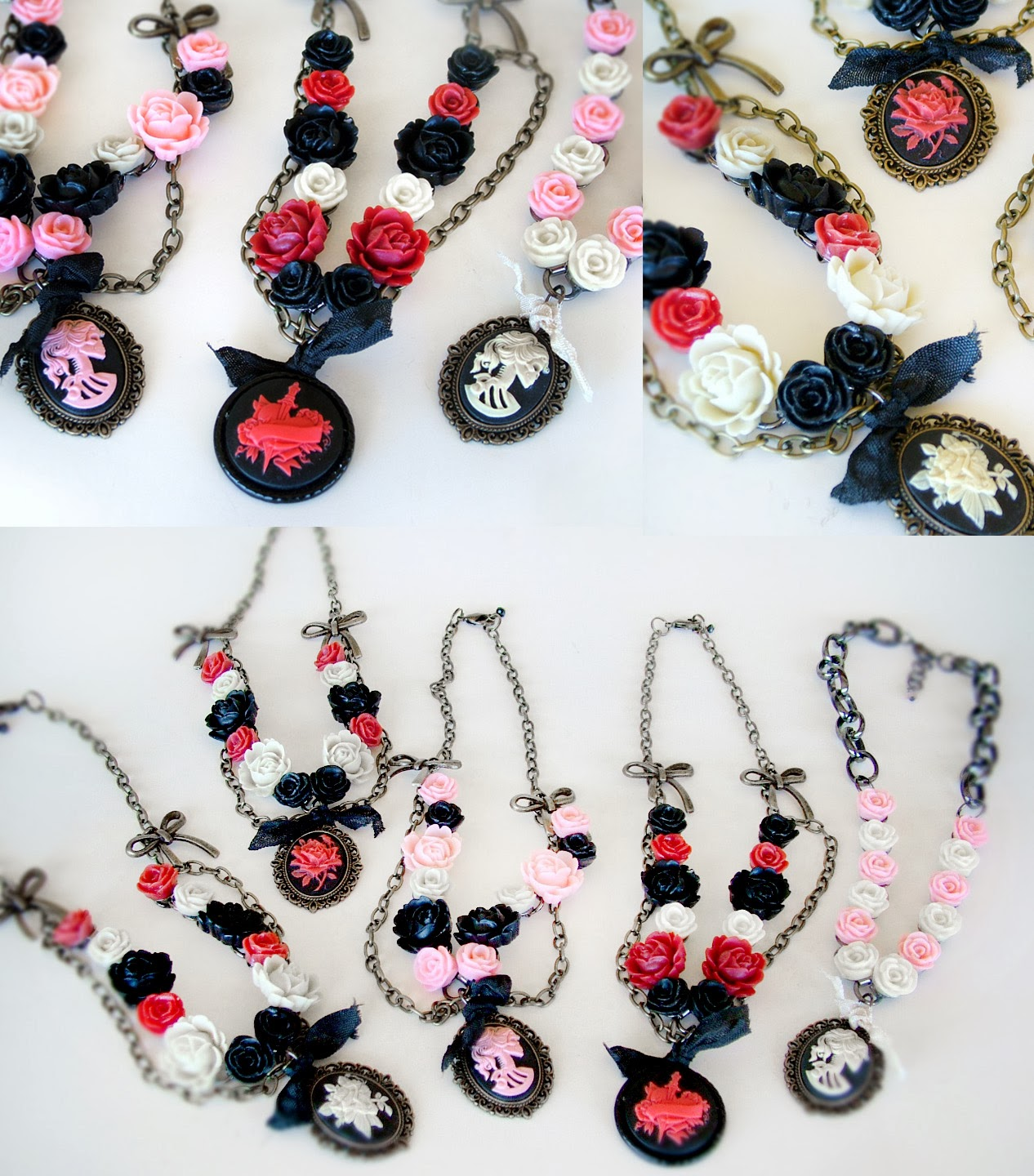 Red Black and Hot pink rose and cameo necklaces by WATTO's Wife
