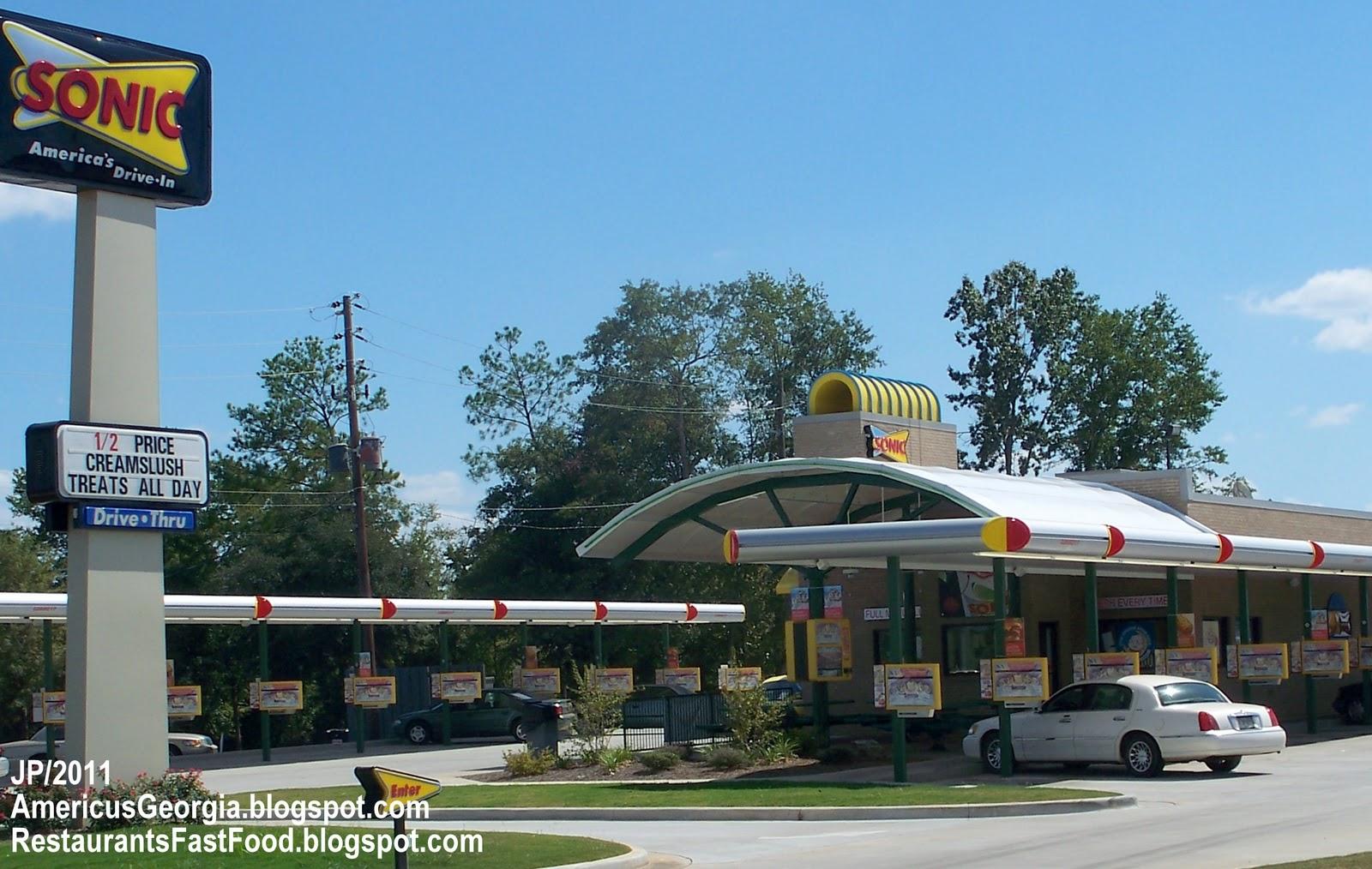 Sonic Drive In Restaurant Americus Georgia East Lamar Street Hamburger Fast Food Ga