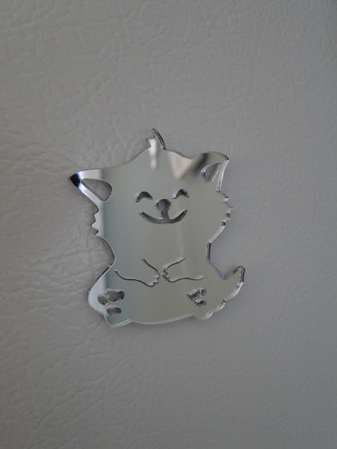 Happy Kitty Mirror Fridge Magnet
