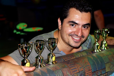 Winner with his 5 small bowling trophies lined up