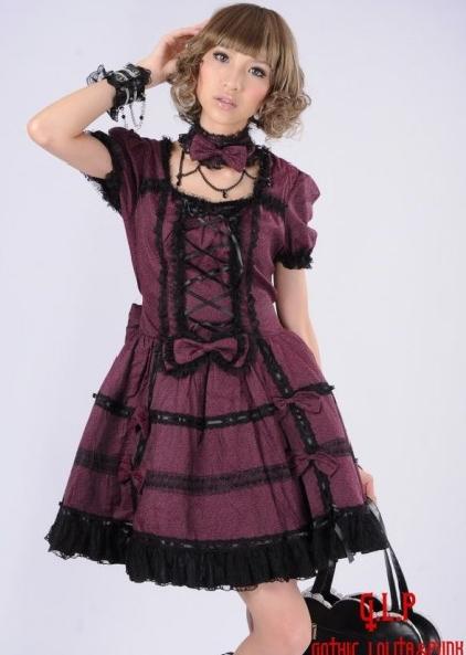 Gorgeous Purple/Gray Bow Classic Lolita Dress