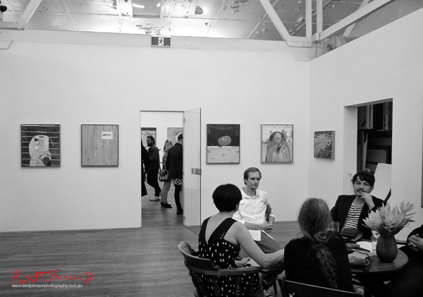 With friends at table, Nick Collerson; Everything Must Go; Ray Huges Gallery, Photography by Kent Johnson for Street Fashion Sydney.