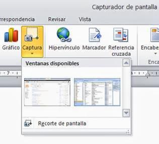 Capturador de pantalla de Office
