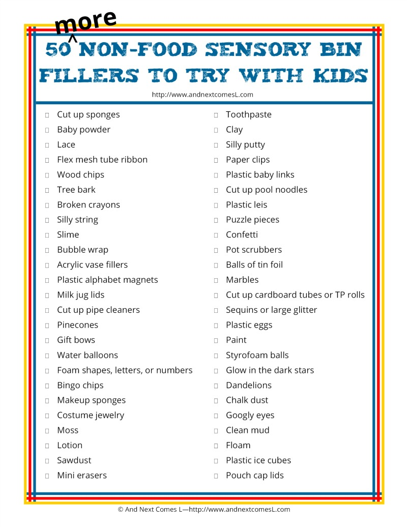 50 more non-food sensory bin fillers to try with kids {free printable list} from And Next Comes L