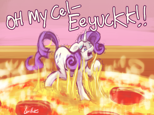 Rarity Stuck on Pizza